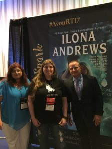 Melanie with author team Ilona and Gordon Andrews #RT17
